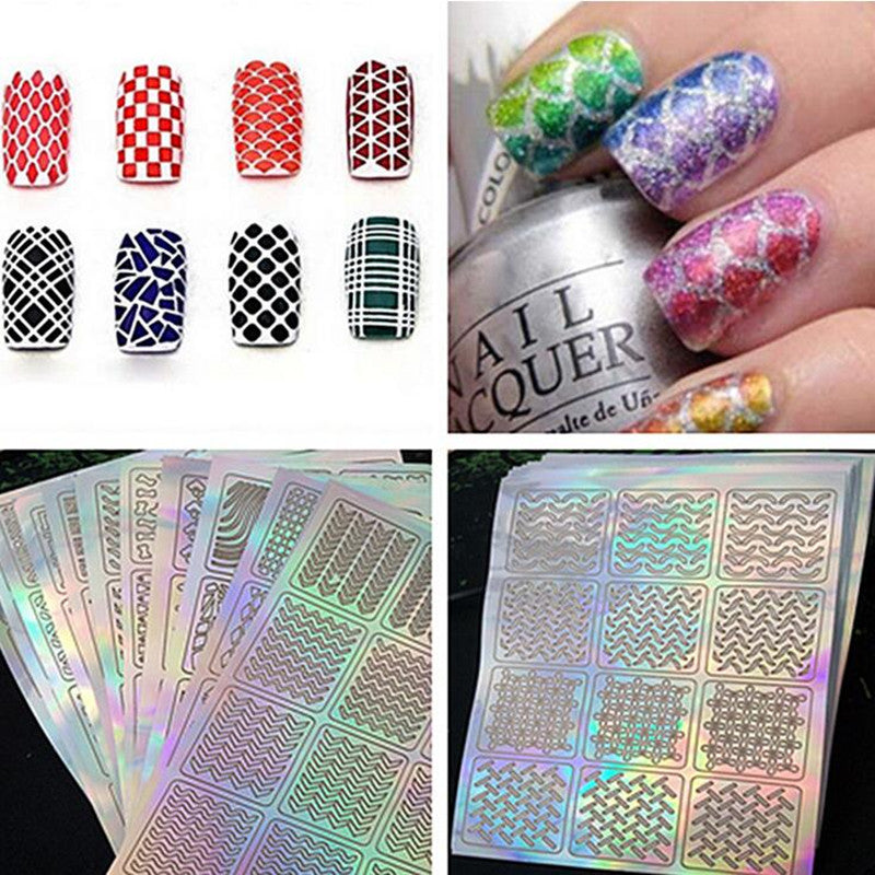 12 Tips/Sheet Nail Vinyls Nail Art Manicure Stencil Stickers Stamp ...