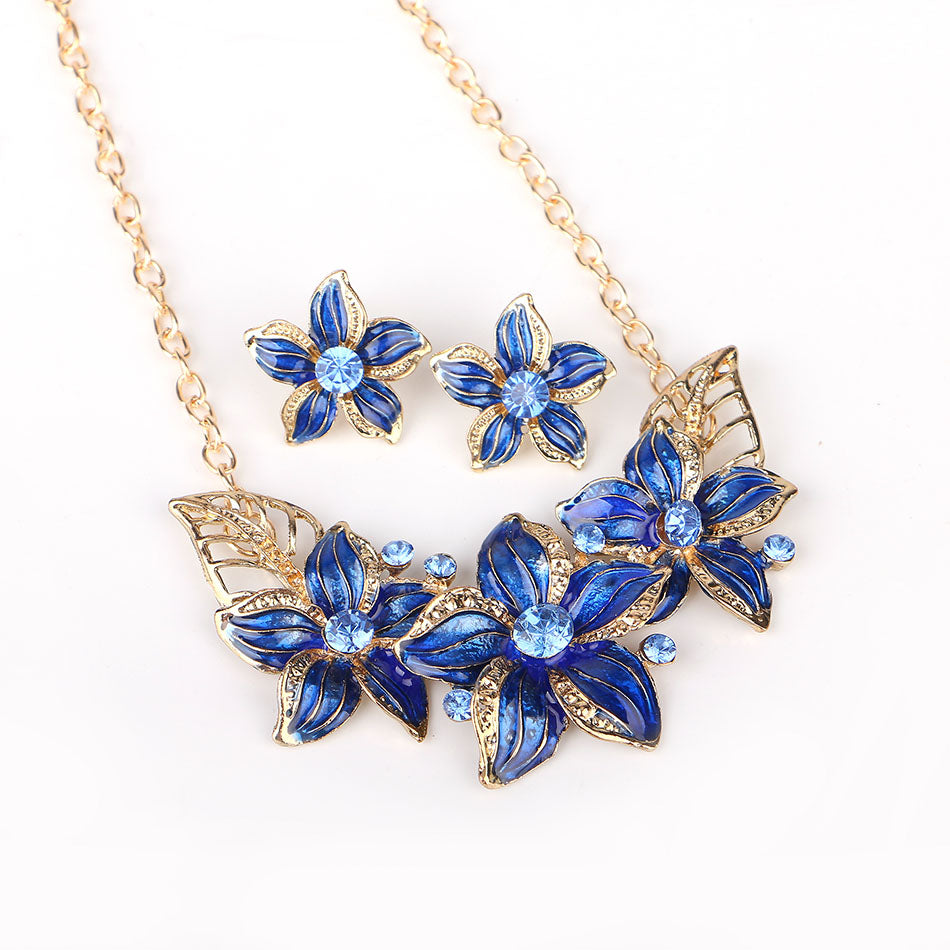 Flower Statement Necklace Set Trendy Choker Boho Chain Necklace Pendant