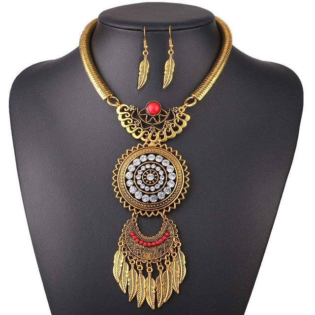 Vintage Statement Necklace Set Bohemia Choker Boho Necklace Pendants