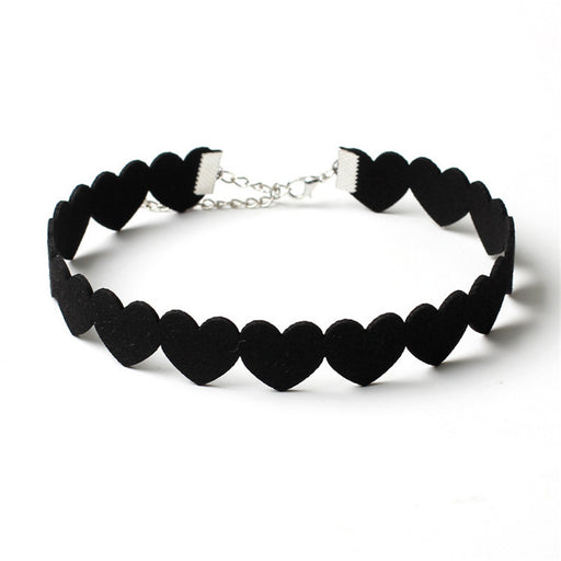 Simple Black Love Heart Choker Necklace Statement Jewelry