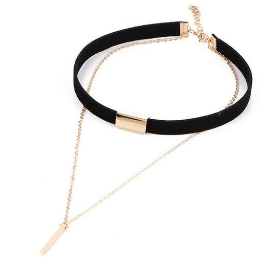 Black Velvet Leather Choker Necklace Fashion Gold Long Chain Necklaces