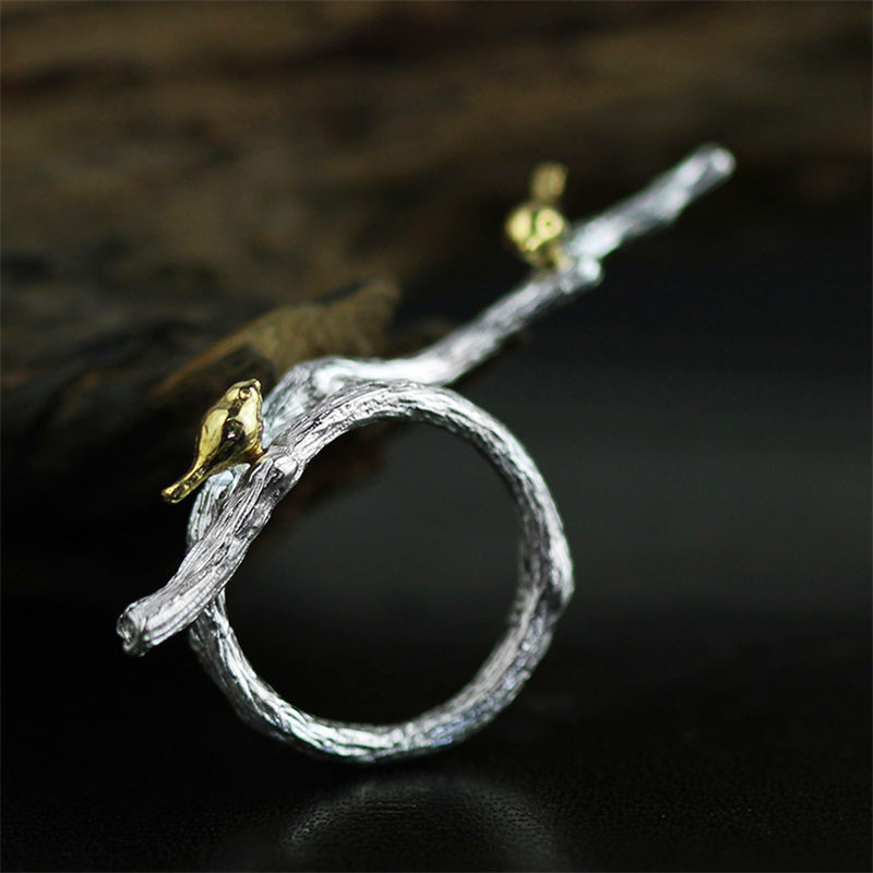 Real 925 Sterling Silver Natural Original Handmade Fine Jewelry Adjustable Ring Bird on Branch Rings