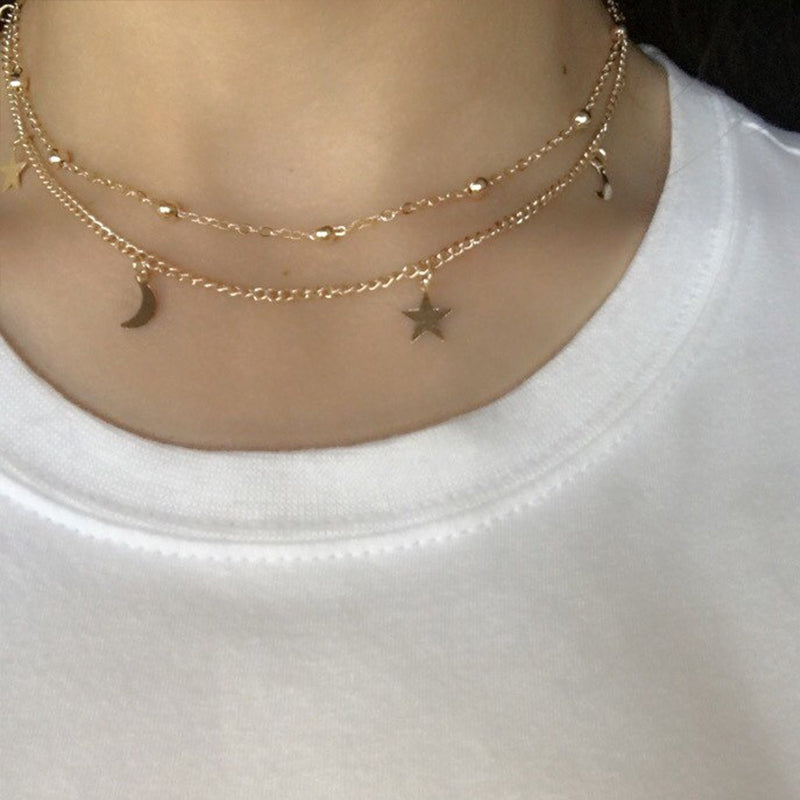 Simple Layered Gold Choker Necklace Moon Stars Gold Necklace ...