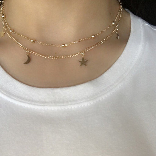 Simple Layered Gold Choker Necklace Moon Stars Gold Necklace