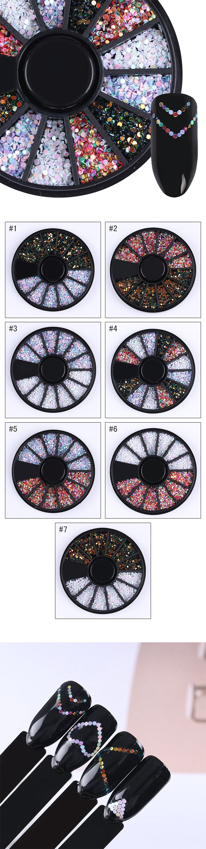 1 Box 1mm Mixed Color 3D Nail Art Decorations Round Wafer Nail Sequins