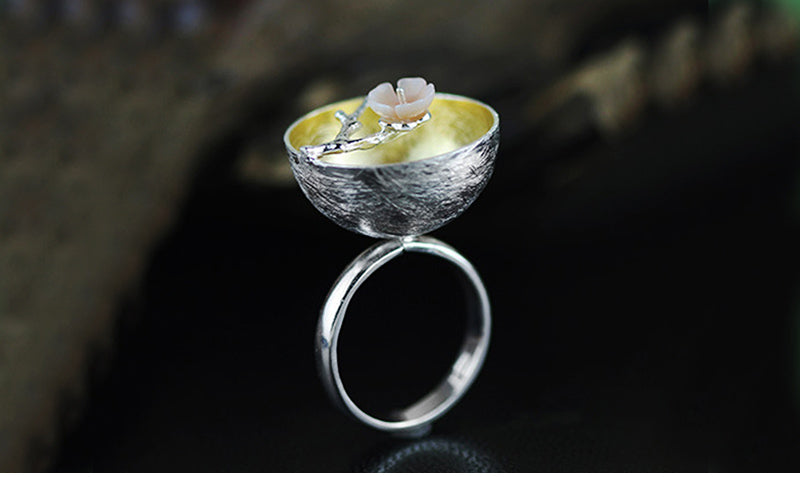 Real 925 Sterling Silver Natural Handmade Fine Jewelry Flower Ring