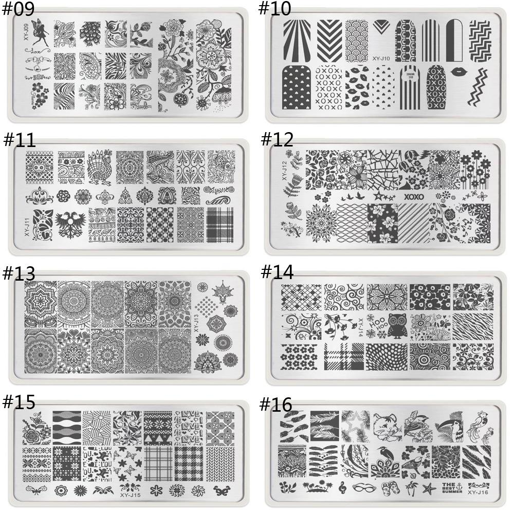 6X12cm Lace Nail Art Stamping Plates Set Metal Templates Stencil Nail Polish Transparent Stamp Scraper