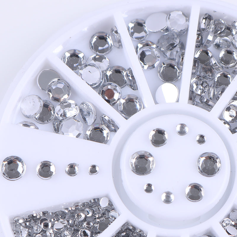 1.2mm/2mm/3mm/4mm Mixed Silver Round Nail Rhinestones for Acrylic UV Gel Shinning Nail Art Decoration