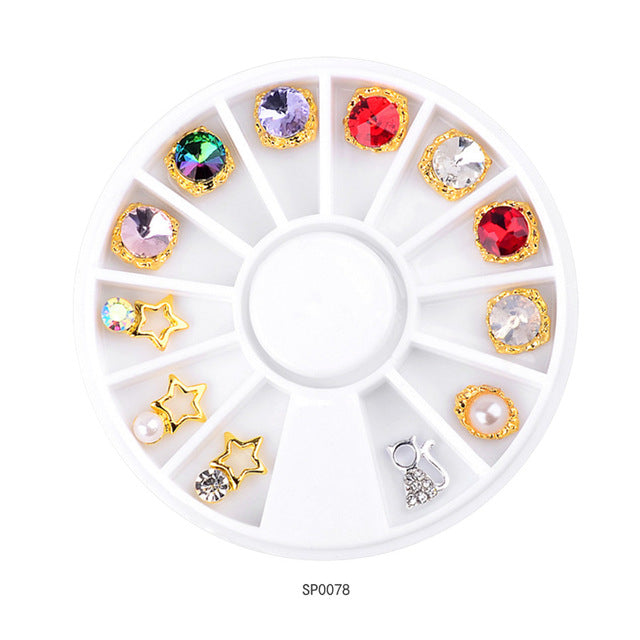 1 Wheel 3D Charm Alloy Rhinestones Nail Art Decorations Perfume Bottle Bow Flowers Triangle DIY Nail