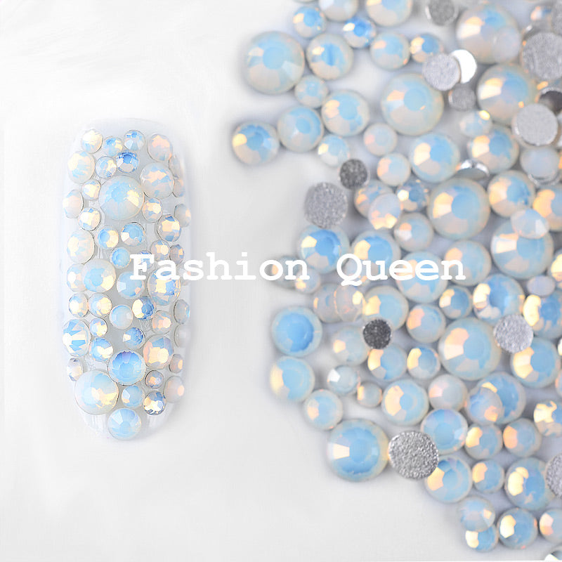 1 Pack White Opal Crystal Nail Art Rhinestones 3D Charm Glass Flatback Non Hotfix Nail Sticker Decorations