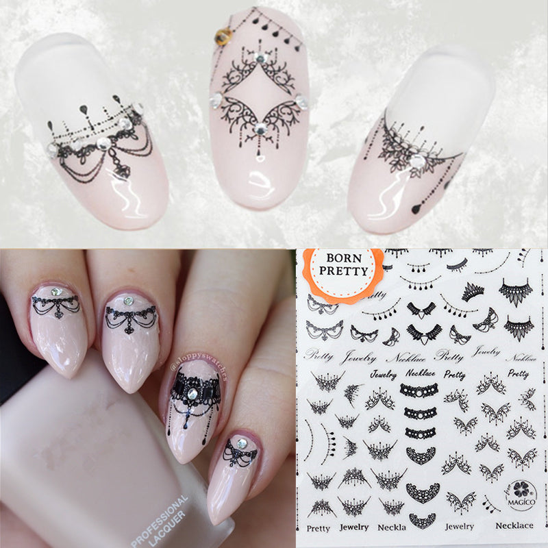 Lace Necklace 3d Nail Art Stickers Black Lace Full Nail Stickers