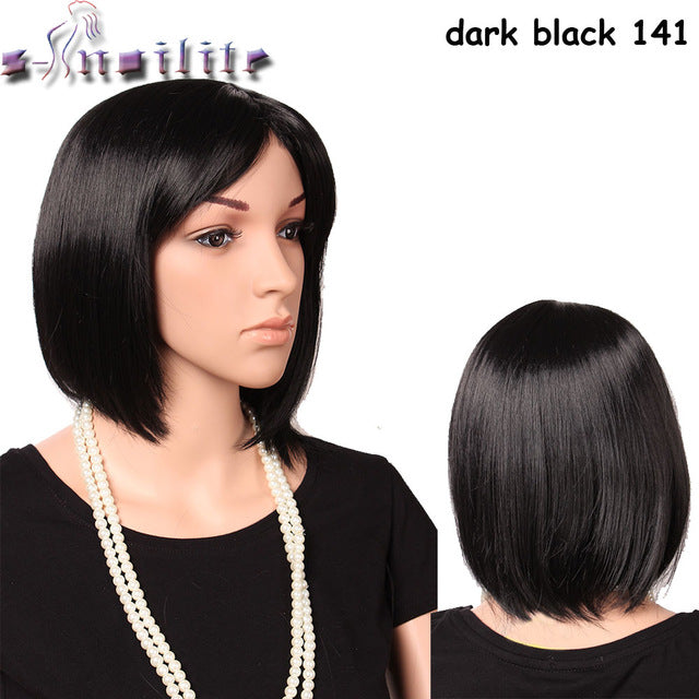 Short Straight Wigs BOB Full Wig Synthetic Thick Black Brown Blonde Hair Color