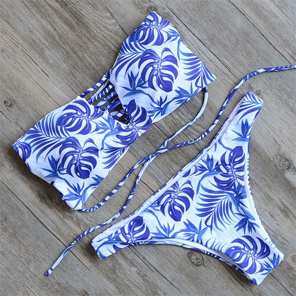 Sexy Bikini Set Print Swimwear Women Beach Bathing Suit Push Up Bandage Bikini Swimsuits