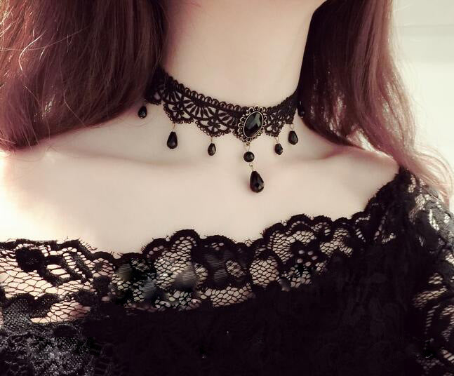 Fashion Black Velvet Choker Necklace Statement Collier Jewelry Collar Necklace