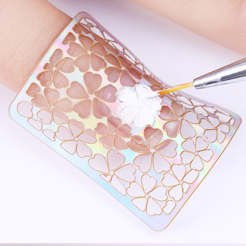 24 Sheets/set Nail Art  Hollow Laser Sticker Stencil Gel Polish Nail Vinyl Tip Transfer Guide Template Nail Decals