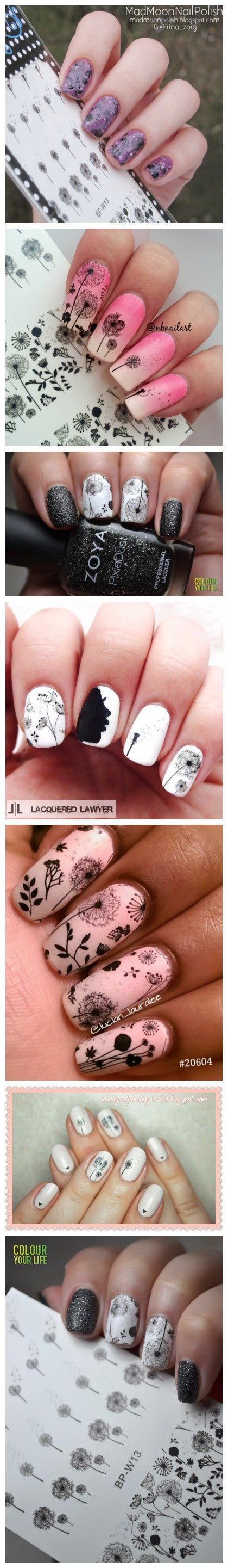 Flying Dandelion Nail Art Water Decals Transfer Sticker Manicure ...