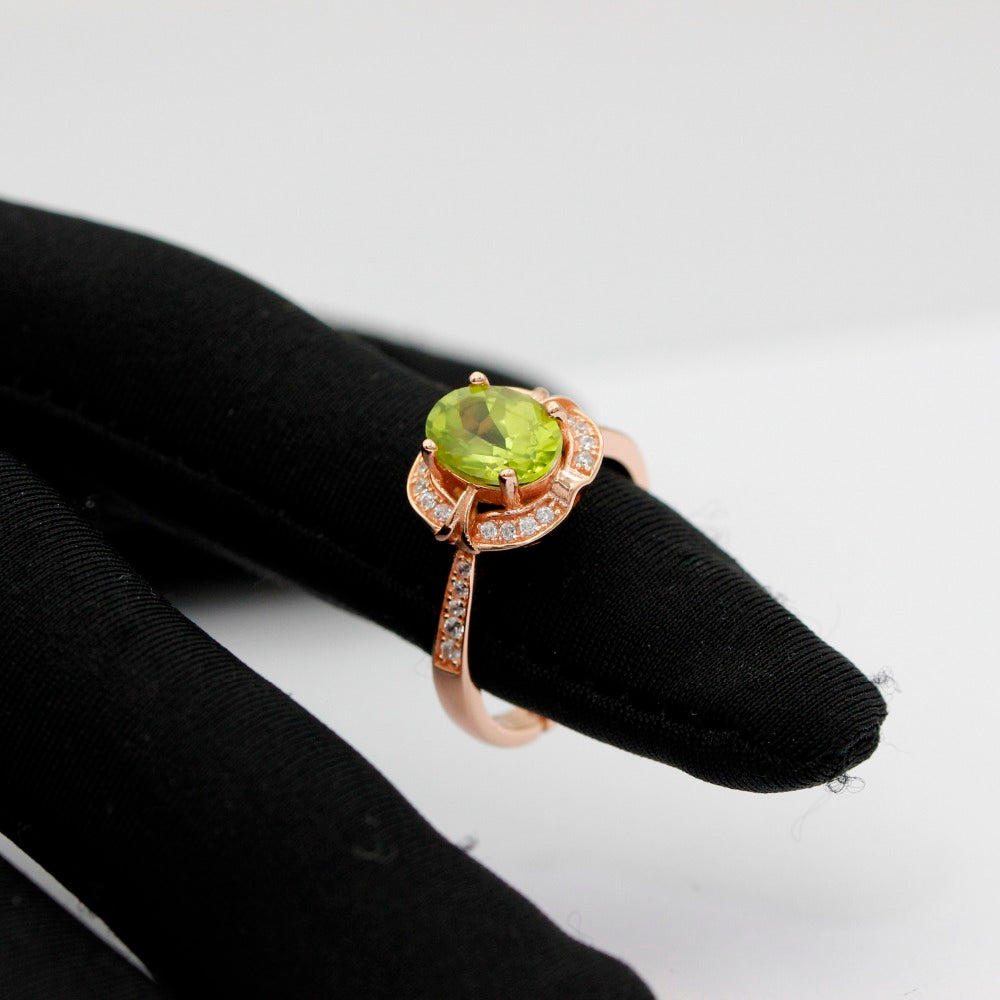 8*6mm Peridot Anniversary Ring Gemstone Solid 925 Sterling Silver Jewelry