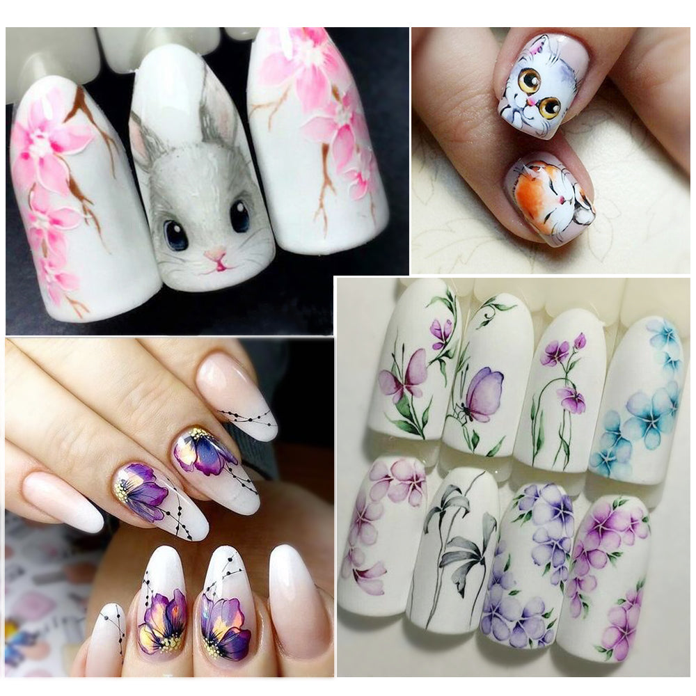 1 Sheet Water Decals Nail Art Stickers Flowers Cartoon Designs Watermark Transfer