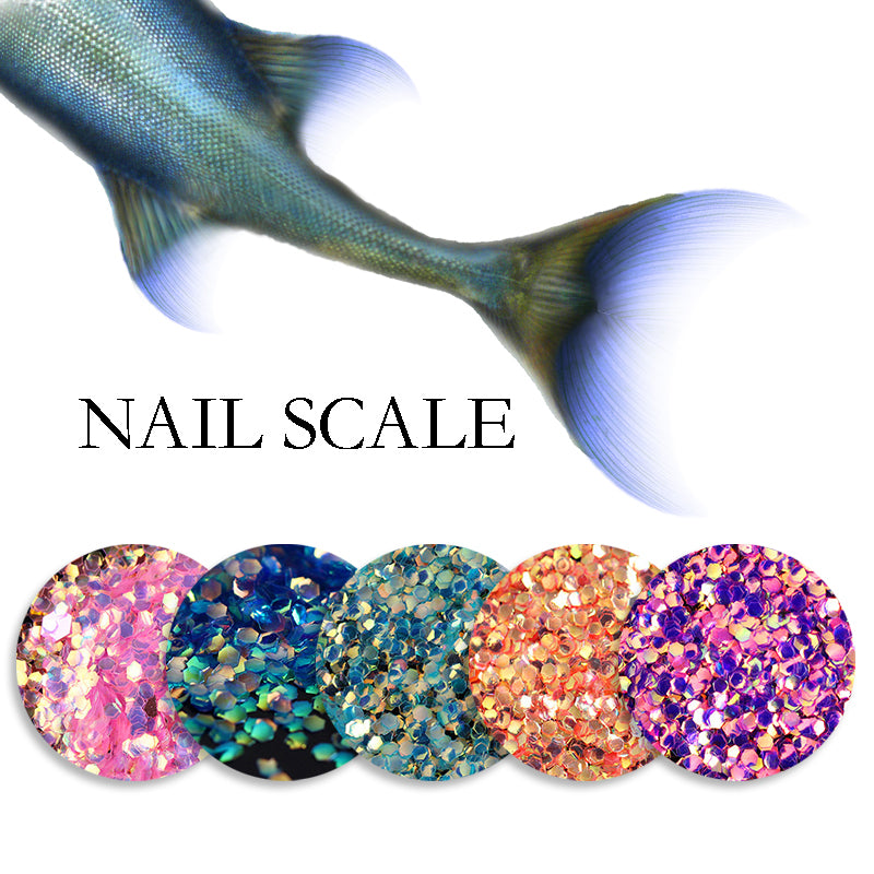1 Bag Shining Scales Nail Glitter Tips Paillette Gorgeous Manicure Powder Nail Art DIY Decoration