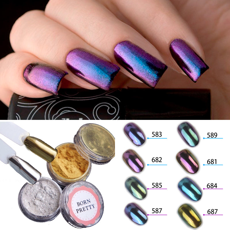 10 Colors Shiny Mirror Glitter Nail Powder Gold Sliver Glitter