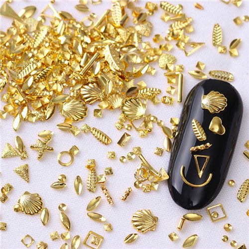 Rose Gold Star Shell Nail Studs Rivet Round Square Triangle Ocean Tips Manicure 3D Nail Art Decorations