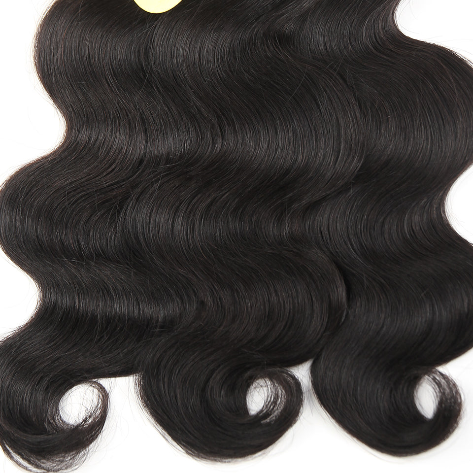 Brazilian Body Wave Lace Closure Non Remy Weft Hair Wavy 3 Human Hair Bundles With Closure