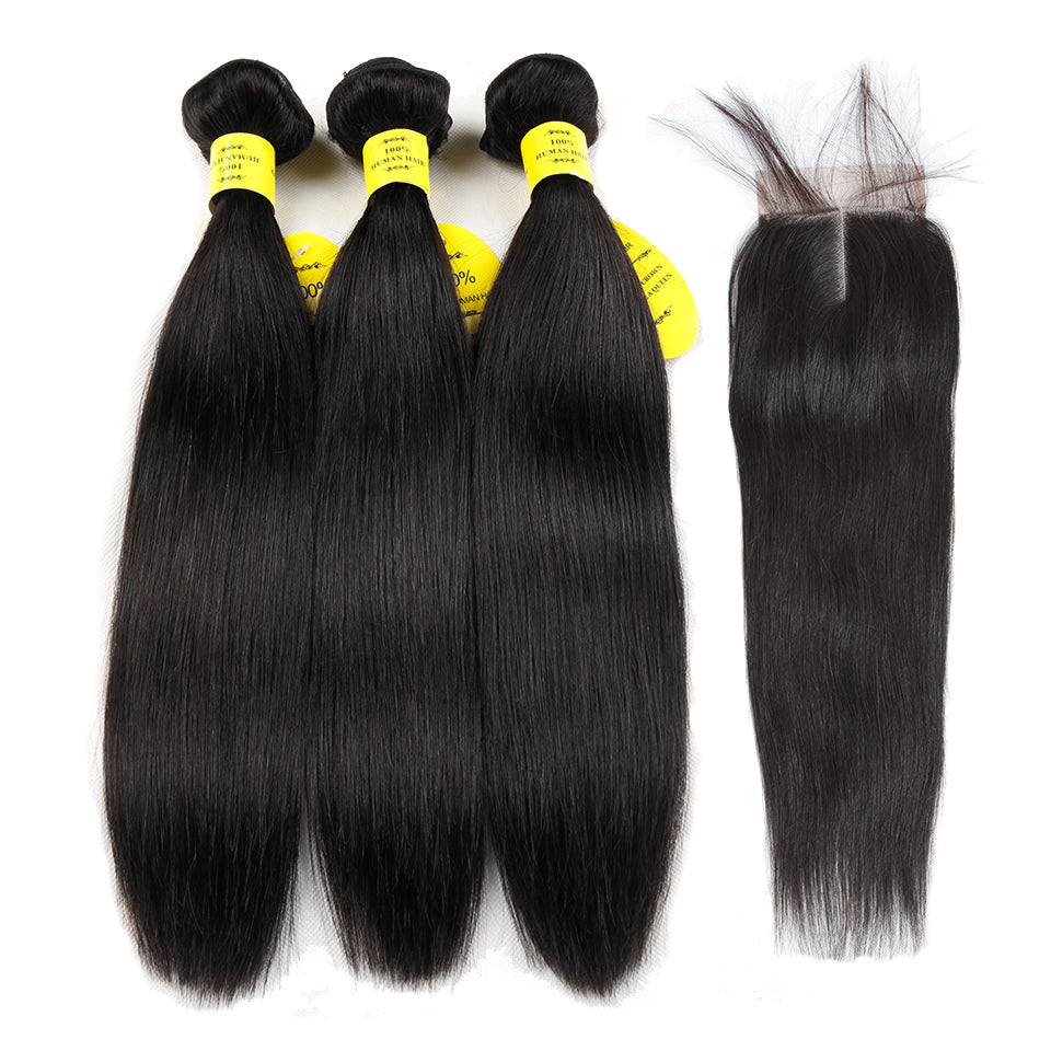 Human Hair Bundles Lace Closure Non Remy Hair Weft Brazilian