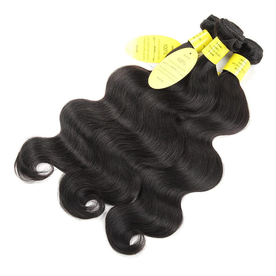 Human Hair 3 Bundles Brazilian Body Wave Closure With Baby Hair Ear To Ear Lace Frontal Closure With Bundles