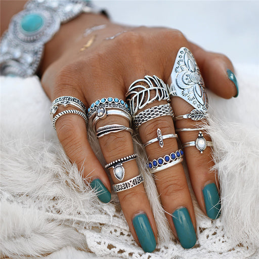 Vintage Bohemian Ring Set Punk Antique Silver Color Leaf Armor Shield Geometric Knuckle Midi Rings for Women