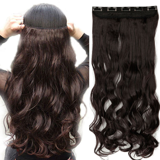 "18-28"" Long Clip in ins hair Extensions synthetic 100% real natural hair 3/4 full head Black Brown"