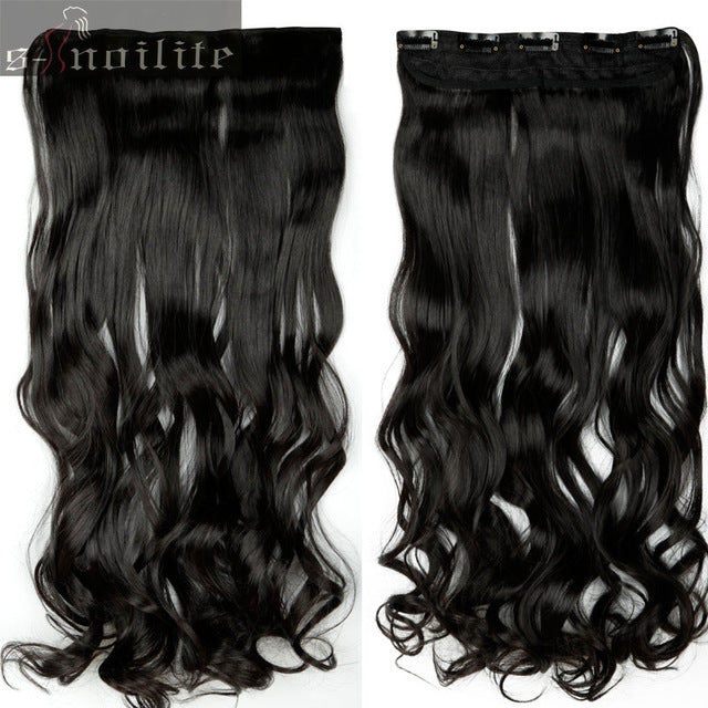 "18-28"" Synthetic 100% Real Natural Hair 3/4 Full Head Black Brown Hair Extensions Clips in ins"