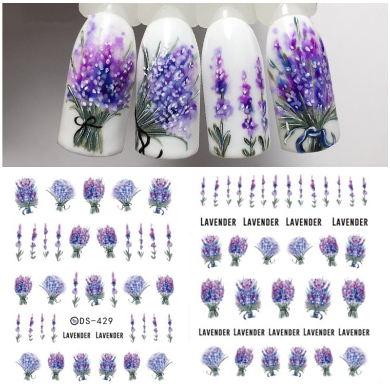 1 Sheet Lavender Purple Floral Water Decals Nail Sticker Nail Art ...