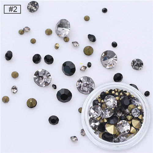 3.5g Multi-size Sharp Bottom Rhinestone 3D Nail Decoration Colorful Mixed Manicure