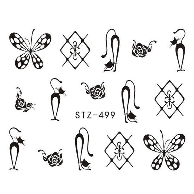 1 Sheet Black Necklace Jewelry Design Water Transfer Sticker Nail Art Decals