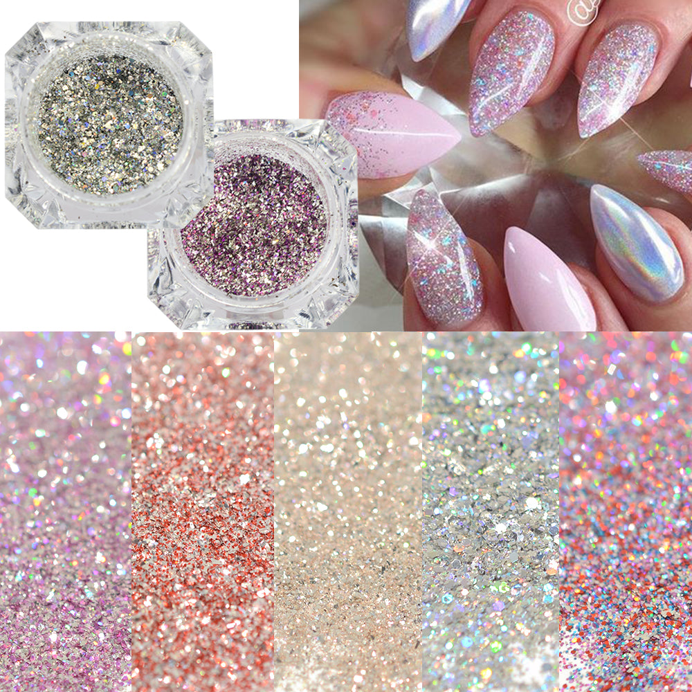 1box Platinum Shiny Nail Glitter Powder Laser Sparkly Diamond