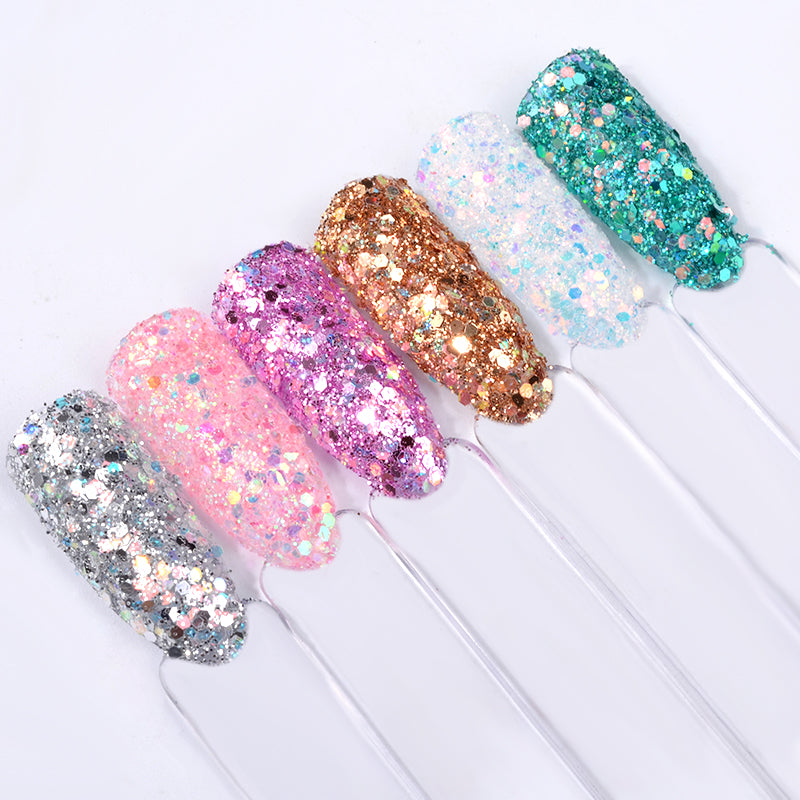 6Pcs Laser Mixed Nail Art Sequins Glitters Set Charm 3D Nail Powder ...