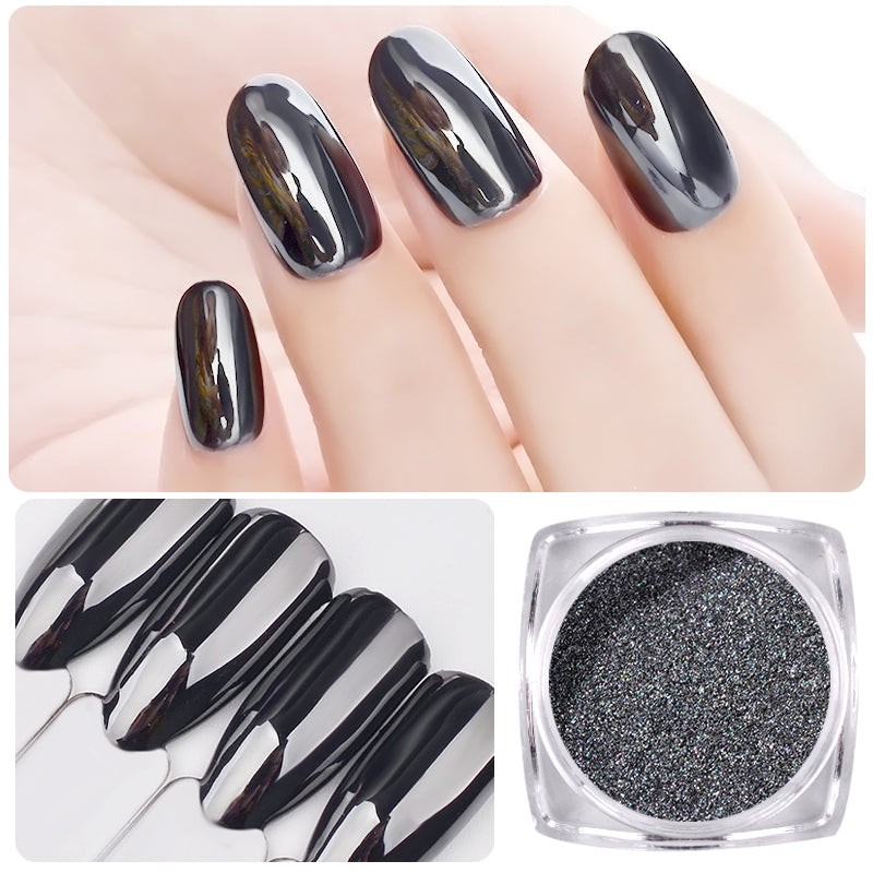 1G Magic Mirror Black Nail Glitter Powder Super Smooth Nail Art Chrome Pigment Dust Manicure DIY Nail Decorations