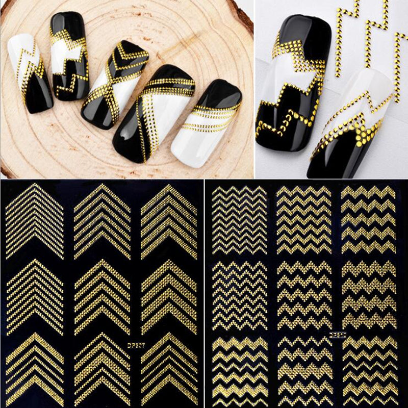 Gold Metal 3D Nail Stickers Stripes Weave Line Nail Art Manicure Transfer Water Slide Nail Stickers