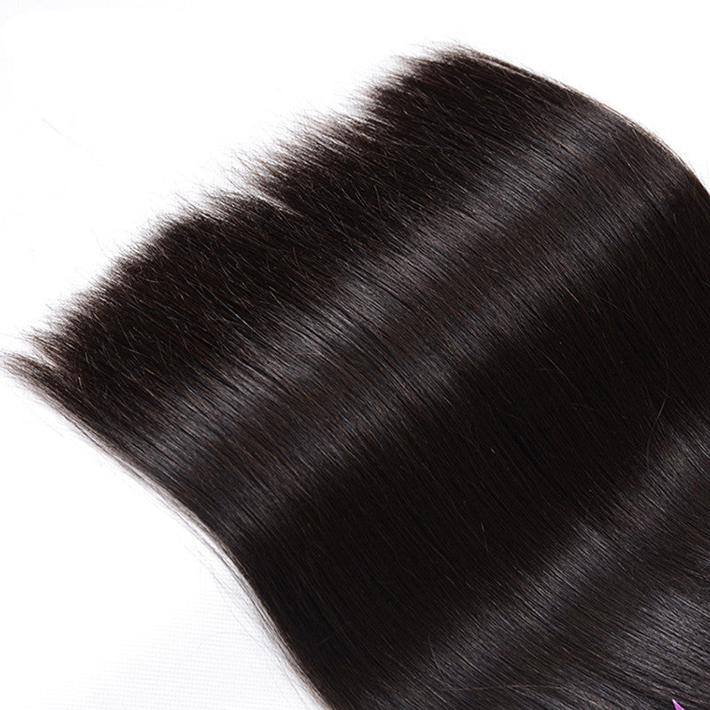 Brazilian Straight Hair 360 Lace Frontal Closure With Bundles Human Hair 3 Bundles With Closure