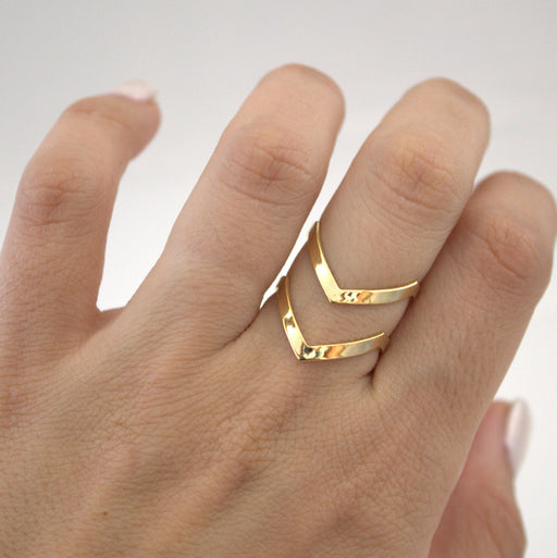 Boho Double Lines V Chevron Rings For Women Simple Geometric Bague Dainty Rings