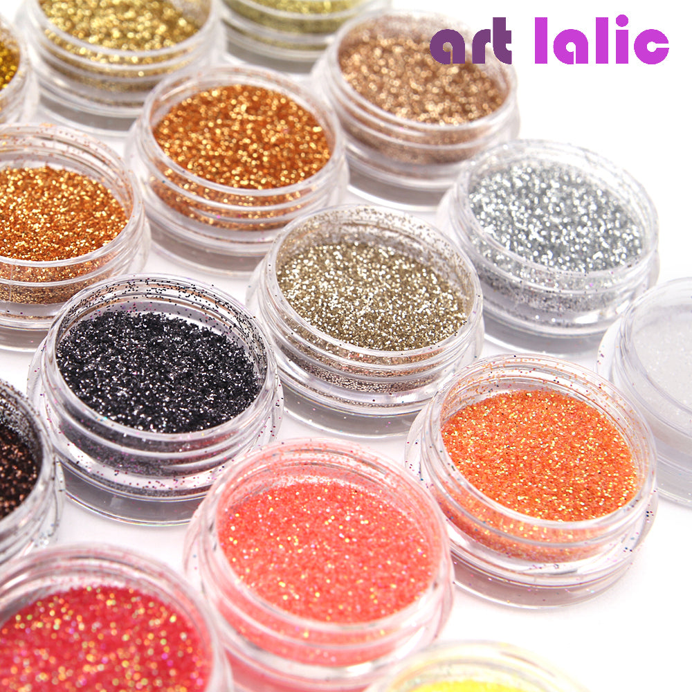 30 Pcs Nail Glitter Assorted Colors Nail Art Fine Glitters Powder Dust UV Gel Polish Acrylic Nail Tips