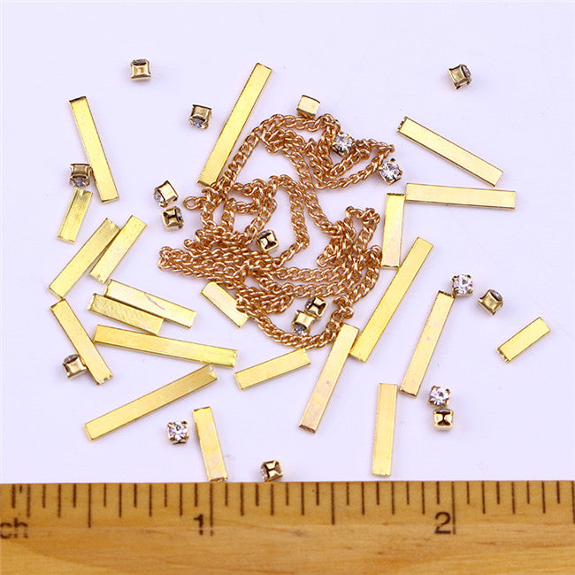 Gold Silver 3D Nail Decorations Rivets Metal Multi Studs Rhinestone Chain Flower Heart DIY Manicure