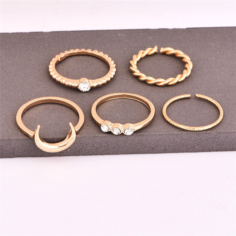 5pcs/set CZ Crystal Midi Rings for Women Bohemian Moon Charms Rings Wedding Party Punk Jewelry