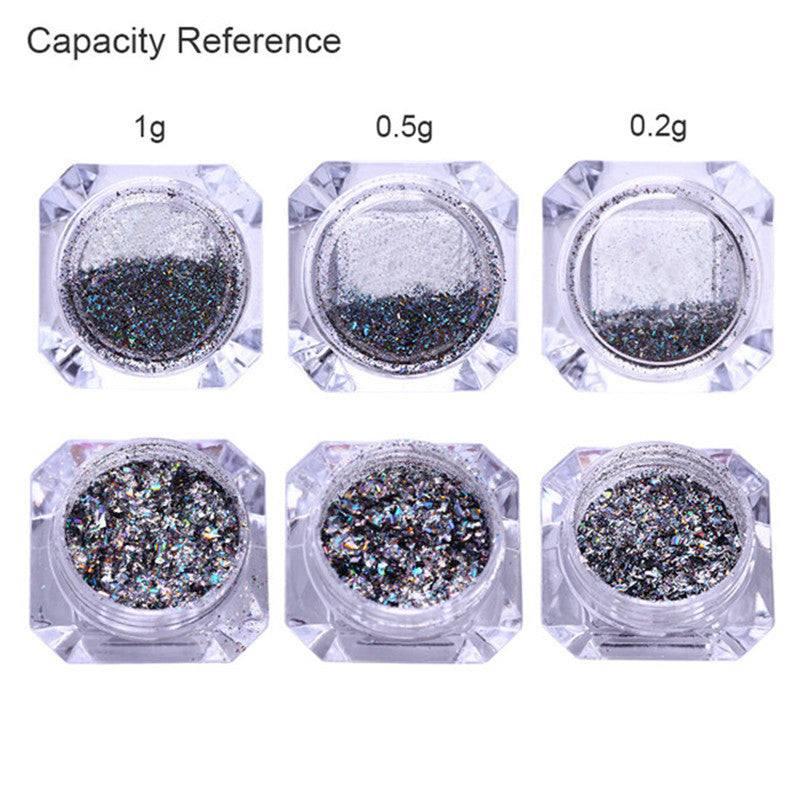1 Box Galaxy Holographic Nail Glitter Laser Holo Nail Sequins Paillettes Powder Nail Glitter Dust