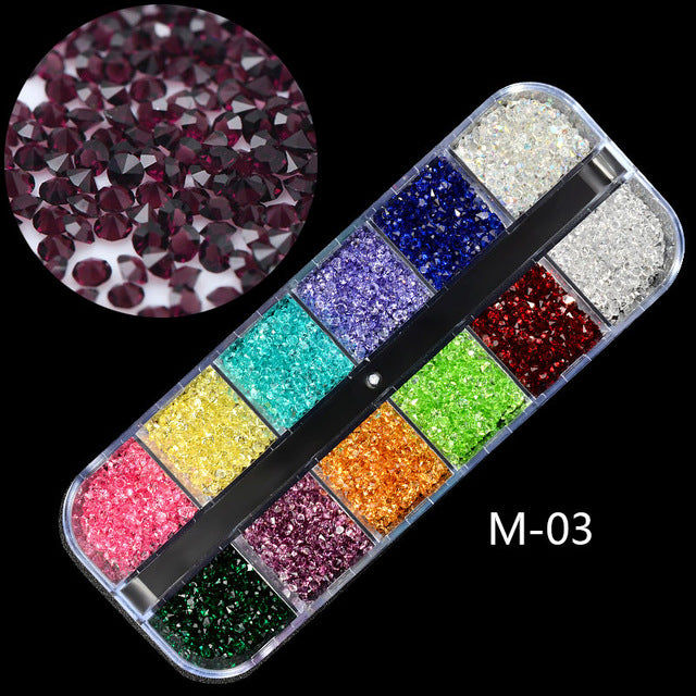 1 Box AB Jelly Rhinestones 3D Colorful Nail Sequins Crushed Stones Fur Ball For DIY Accessories Glitter Nail Art Decorations