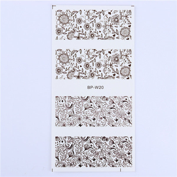 1 Sheet Nail Sticker Cute Flower Pattern Nail Art Water Decals Nail Transfer Stickers