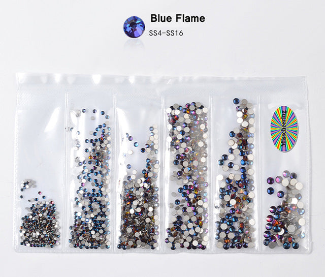 1 Pack 20 Colors Flatback Glass Nail Rhinestones Mixed Sizes SS4-SS20 Nail Art Decoration Stones