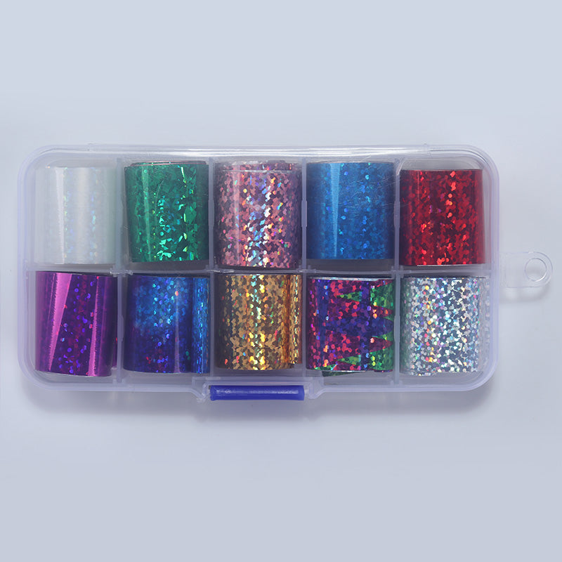 1 Box Holographic Nail Foil Set 2.5*100cm Transparent AB Color Transfer Sticker Manicure Nail Art Decals