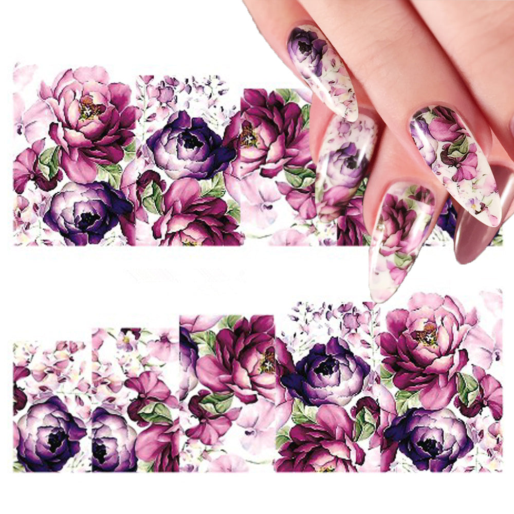 2 Sheets Purple Floral Water Decal Colorful Flower Nail Art Transfer