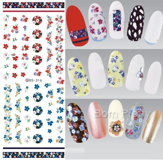 2 Sheets Purple Floral Water Decal Colorful Flower Nail Art Transfer ...